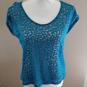 Sheer Teal Blue Print Top